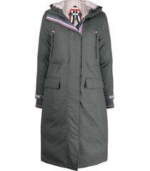 thom browne down-filled a-line hooded parka - 035 med grey