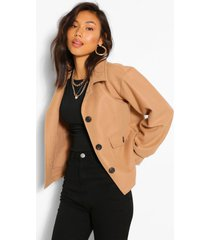cropped wool look jacket, camel