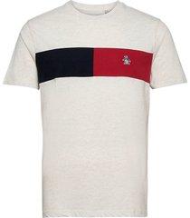 colour block chest stripe t-shirt t-shirts short-sleeved grå original penguin