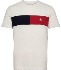 colour block chest stripe t-shirt t-shirts short-sleeved grå original penguin