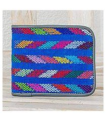 cotton and leather wallet, 'colors of the sea' (guatemala)