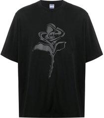 black rose flower detail t-shirt