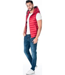 chaleco rojo acolchado con capota para hombre cremallera frontal y bolsillos laterales con cremallera