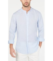 tasso elba men's banded collar linen shirt, created for macy's