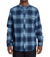 men's billabong coastline plaid flannel button-up shirt, size medium - blue