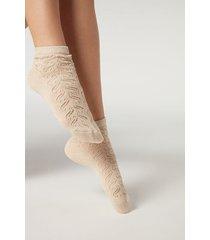calzedonia glitter ankle socks woman ivory size tu