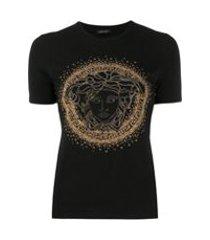 versace camiseta medusa com tachas - preto