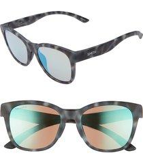 women's smith caper 53mm chromapop(tm) square sunglasses - ash tortoise/ opal mirror