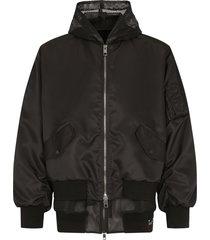 dolce & gabbana mesh hood bomber jacket - black