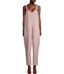 pinstripe linen-blend jumpsuit