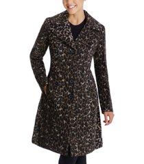 anne klein single-breasted leopard walker coat, created for macy's