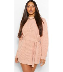 tall waffle knit belted sweater dress, blush