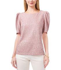 msk foil-crinkle knit puff-sleeve top