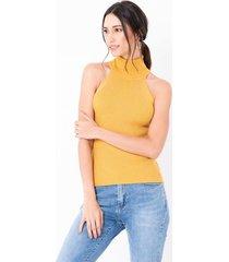 blusa básica cuello halter lurex