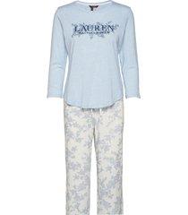 lrl 3/4 sl. scoop long pant pj pyjamas blå lauren ralph lauren homewear
