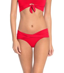 women's robin piccone ava twist hipster bikini bottoms, size medium - red