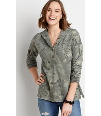 maurices womens green camo floral button front hoodie