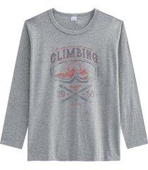camiseta tradicional em malha mescla wee! cinza claro - g