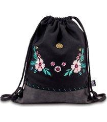 mochila bordado floral negro rhein