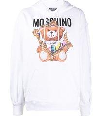 moschino teddy bear print hoodie - white
