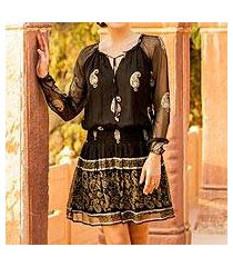viscose a-line dress, 'paisley midnight' (india)
