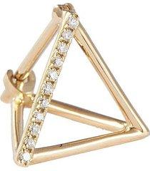 'triangle' diamond 18k yellow gold pyramid single earring - 10mm