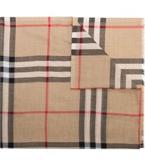 burberry giant vintage check scarf - brown