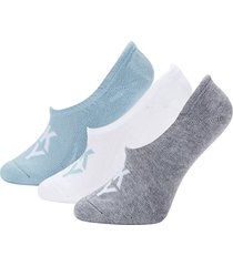 dkny women's 3-pack no-show logo socks - white grey black