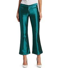 iridescent kick-flare trousers