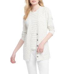 women's nic+zoe mottled stripe cardigan, size x-large - ivory