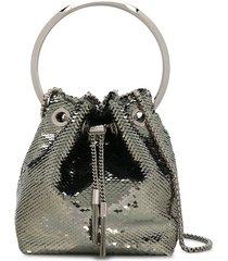 jimmy choo bon bon sequin-embellished tote bag - silver