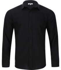 camisa manga larga unicolor color negro, talla l