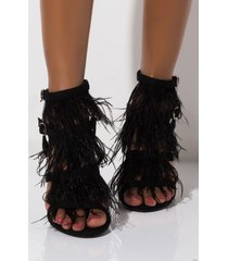 akira cape robbin throw it in the bag feather stiletto sandal