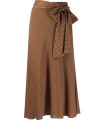 dvf diane von furstenberg geometric-print mid-length skirt - brown