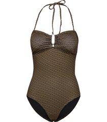 kellygz open bk swimsuit baddräkt badkläder brun gestuz