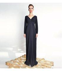 steffany maxi / black - długa suknia z udrapowan