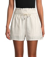 rta women's tara a-line striped shorts - off white - size m