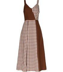 rejina pyo check panel midi dress - brown