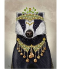 "fab funky badger with tiara, portrait canvas art - 15.5"" x 21"""