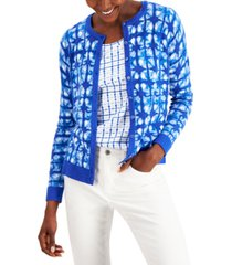 charter club printed button-front cardigan, created for macy's