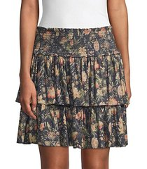 secret garden tiered floral skirt