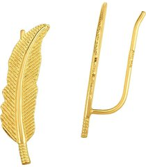 saks fifth avenue women's 14k yellow gold leaf climber ear cuffs