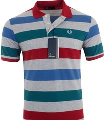 fred perry men's short sleeve cotton pique polo shirt striped size s, m, l, xxl
