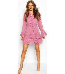 dobby tie waist flare sleeve mini dress, lilac