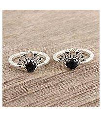 onyx toe rings, 'black tiara' (pair) (india)