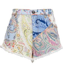 etro multicolor pasley denim shorts