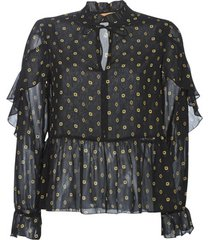 blouse maison scotch sheer printed top with ruffles