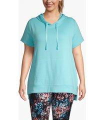 lane bryant women's active seamed dolman sleeve hoodie 26/28 bali blue