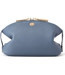 dagne dover large lola leather cosmetics pouch, size one size - ash blue