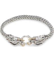 effy women's two-tone, ruby & white sapphire dragon bracelet